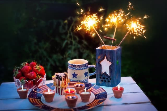 Fourth of July Celebration with food and sparklers